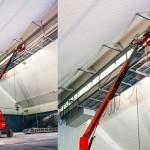 Nous utilisons fréquemment des engins de chantier spécialisés, comme ici une nacelle.