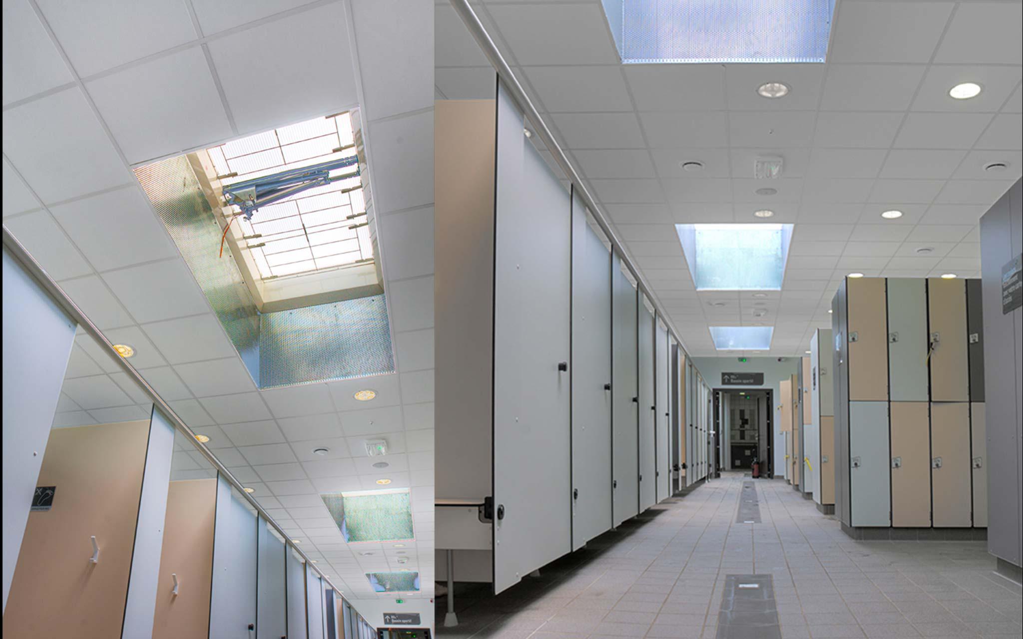 plafond suspendu dans les vestiaires therond plafond. Black Bedroom Furniture Sets. Home Design Ideas
